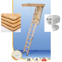 "Minka Attic Ladder supplied and fitted + 6,5 m² attic flooring 2"" + Led light"